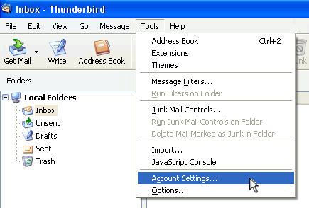 Thunderbird - Tools, Accounts