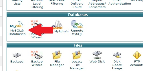 Open the MySQL Databases  area from cPanel.