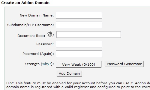Enter the information for the new addon domain.