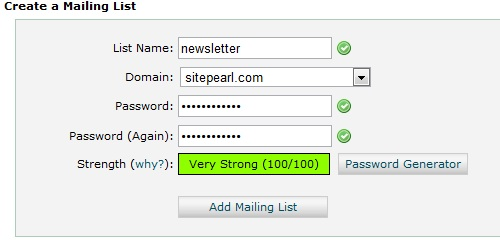 Fill in the required mailing list fields